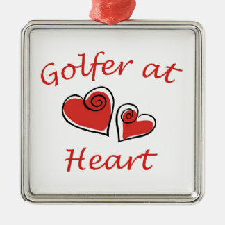 Golfer at Heart Silver-Colored Square Decoration