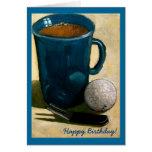 Golfer Birthday: Painting of Golf Ball, Mug, etc. Greeting Card