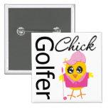 Golfer Chick Pinback Buttons