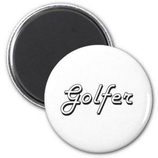 Golfer Classic Job Design 2 Inch Round Magnet