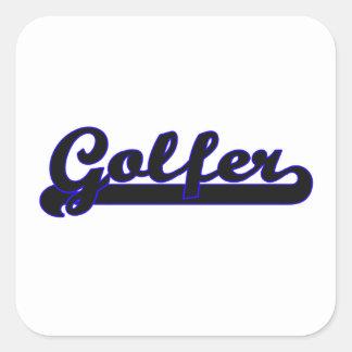 Golfer Classic Job Design Square Sticker