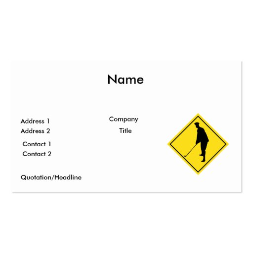 golfer crossing sign business card templates