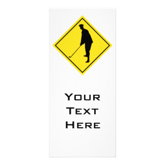 golfer crossing sign personalized rack card