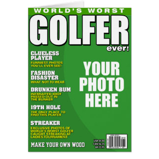 Golfer Fake Magazine Cover Card