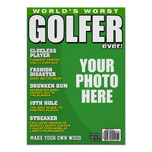 Golfer Fake Magazine Cover Posters