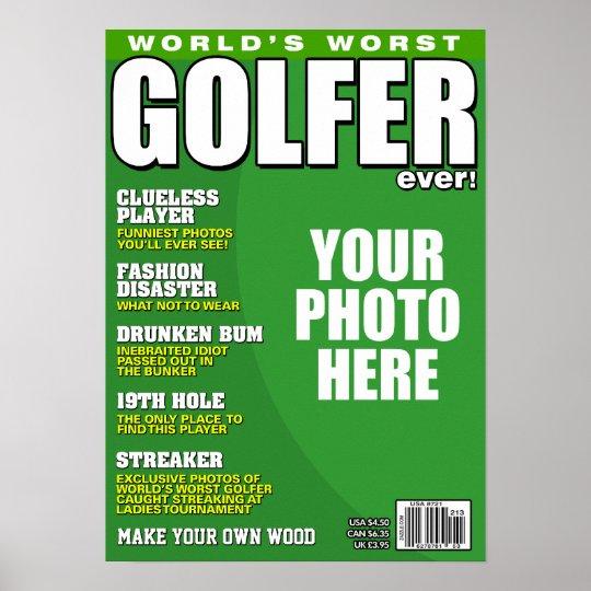 Golfer Fake Magazine Cover Poster
