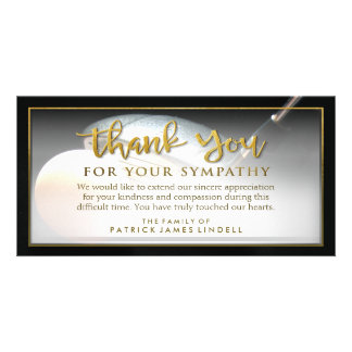 Golfer Golden Thank You For Your Sympathy Card Customized Photo Card