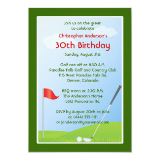 Golfer Golf Golfing Ball and Flag 30th Birthday Card