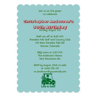 """Golfer Golf Golfing Ball and Flag 30th Birthday 5"""" X 7"""" Invitation Card"""