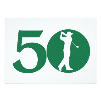 "Golfer Golf Green White 50th Birthday Invitation 5"" X 7"" Invitation Card"