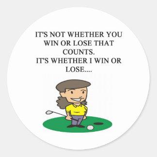golfer golfing golf joke gifts t-shirts round sticker
