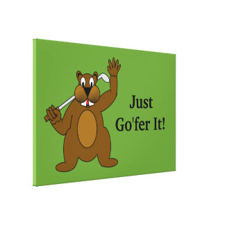 Golfer Gopher Just Go fer It Gallery Wrapped Canvas
