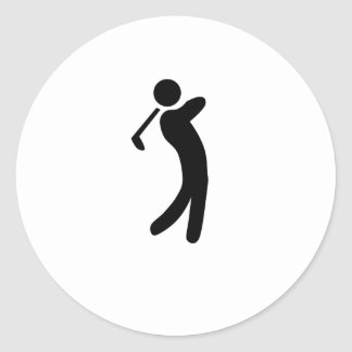Golfer Icon Round Sticker