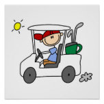 Golfer in Golf Cart Poster