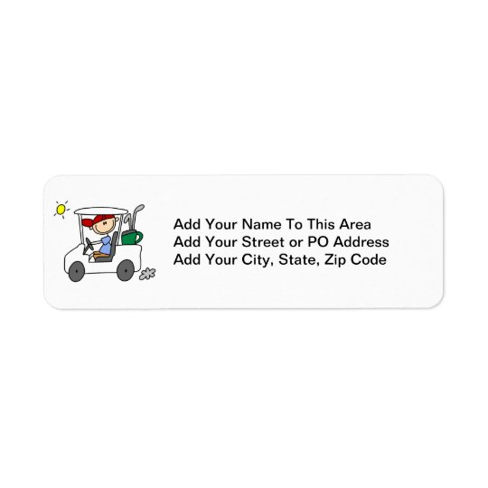 Golfer in Golf Cart Return Address Label