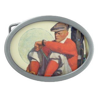 Golfer Kept Waiting Oval Belt Buckles