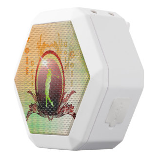 Golfer on a button with damasks decorated white boombot rex bluetooth speaker