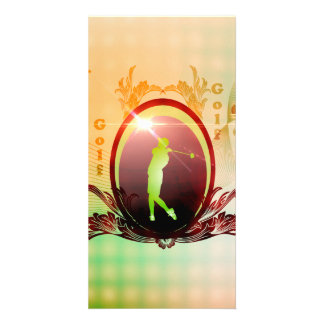 Golfer on a button with damasks decorated photo card