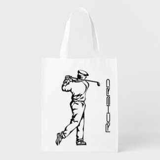Golfer on Leather Look Reusable Grocery Bag