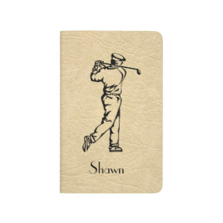 Golfer on Leather Look with Name Journal