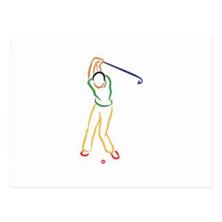 Golfer Outline Postcard