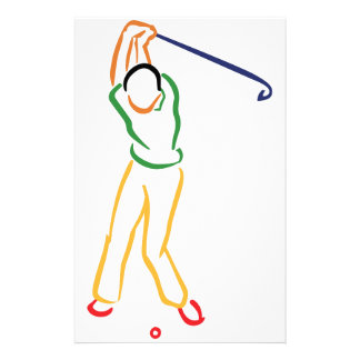 Golfer Outline Personalised Stationery