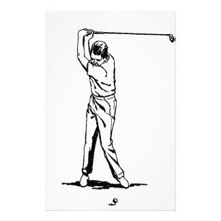 Golfer - Retro Drawing Stationery Design