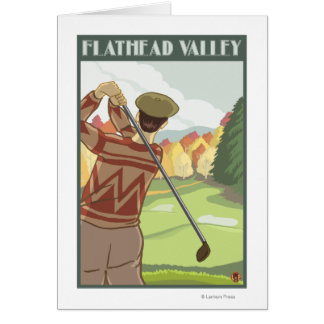 Golfer Scene - Flathead lake, Montana Card