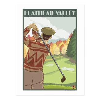 Golfer Scene - Flathead lake, Montana Postcard