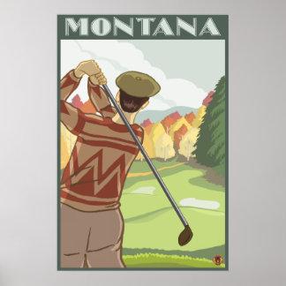 Golfer Scene - Montana Poster