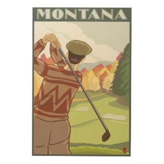 Golfer SceneMontanaVintage Travel Poster
