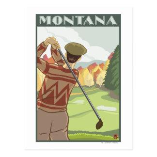 Golfer SceneMontanaVintage Travel Poster Postcard
