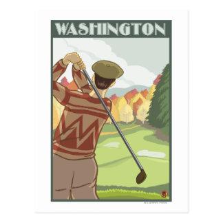 Golfer SceneWashingtonVintage Travel Poster Post Card