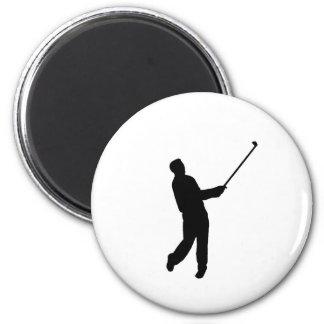 Golfer silhouette 6 cm round magnet
