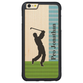 "Golfer Silhouette ""Add Your Name"" Carved Maple iPhone 6 Plus Bumper Case"