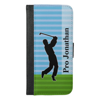 "Golfer Silhouette ""Add Your Name"" iPhone 6/6s Plus Wallet Case"