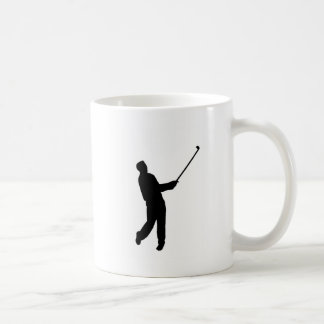 Golfer silhouette basic white mug