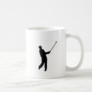 Golfer silhouette classic white coffee mug
