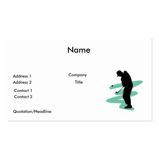 golfer silhouette design business card