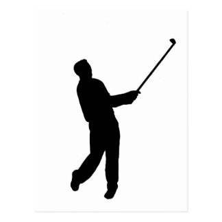 Golfer silhouette postcard