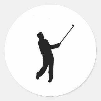 Golfer silhouette round sticker
