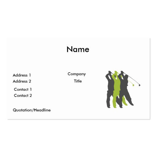 golfer silhouettes golf design business card
