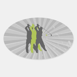 golfer silhouettes golf design oval sticker