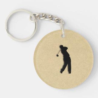 Golfer Sport Design Leather Look Key Ring