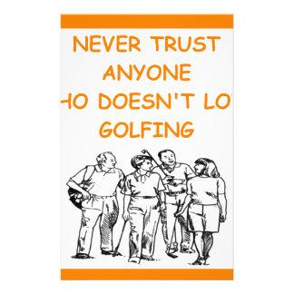 golfer customized stationery