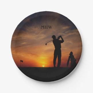 Golfer Sunset custom monogram paper plates