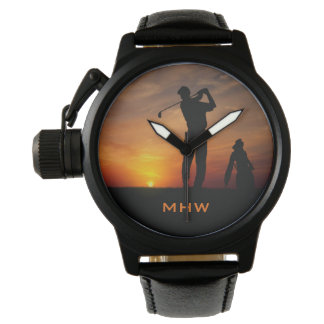 Golfer Sunset custom monogram watches