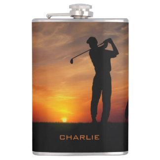 Golfer Sunset custom name flask