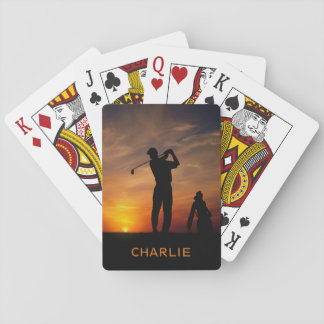 Golfer Sunset custom name playing cards
