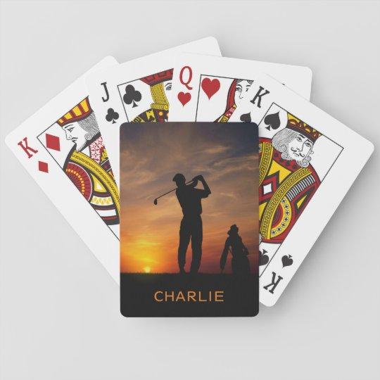 Golfer Sunset custom name playing cards